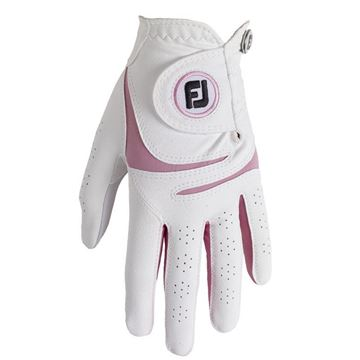FootJoy Ladies WeatherSof Glove White/Pink For the Right Handed Golfer