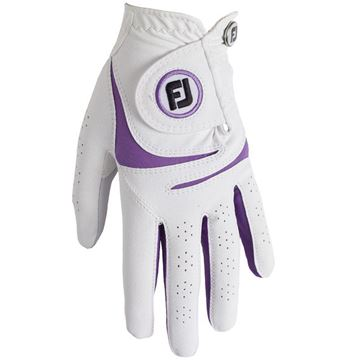 FootJoy Ladies WeatherSof Glove White/Purple For the Right Handed Golfer