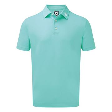 Footjoy Stretch Pique Solid Polo - Aqua, Golf Clothing Mens