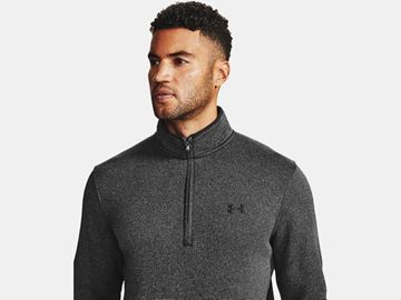 Under Armour Storm Sweaterfleece 1/2 Zip - Black/White, Golf Clothing Sweaters