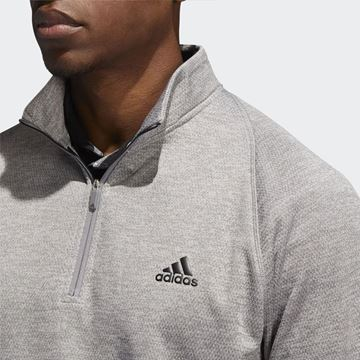 Adidas Mid Weight 1/2 Zip Sweater - Grey , Golf Clothing Sweaters