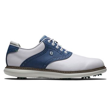 Footjoy Traditions Golf Shoes - White/Navy - 57901, Golf Shoes Mens