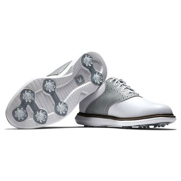 Footjoy Traditions Golf Shoes - White / Grey - 57916, Golf Shoes Mens